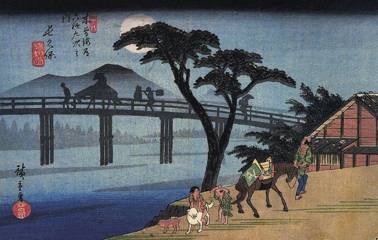 1024px-hiroshige_man_on_horseback_crossing_a_bridge