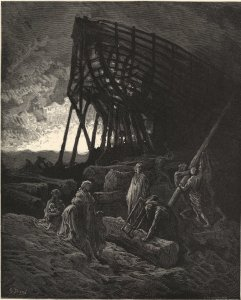 Illustration from MiltonÕs ÒParadise LostÓ, Illustration by Gustave Dore titled ÒAll dwellings else flood overwhelmed, and them, with all their pomp, deep under water rolledÓ, NoahÕs Ark, biblical, ships, building, boats, God, flood, Cassel Peter & Galp